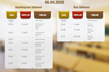 """""""Dərs vaxtı""""nın aprelin 6-sı üçün nəzərdə tutulan-CƏDVƏLİ"""