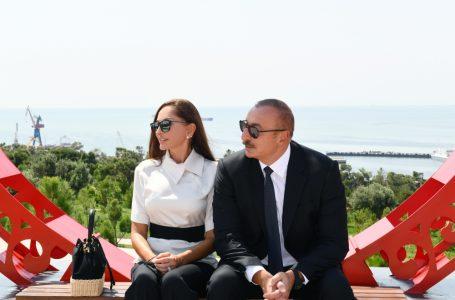 """İlham Əliyevlə Mehriban Əliyeva Bakıda yeni yaradılan """"Gənclik"""" parkının-AÇILIŞINDA – FOTOLAR – YENİLƏNİB"""